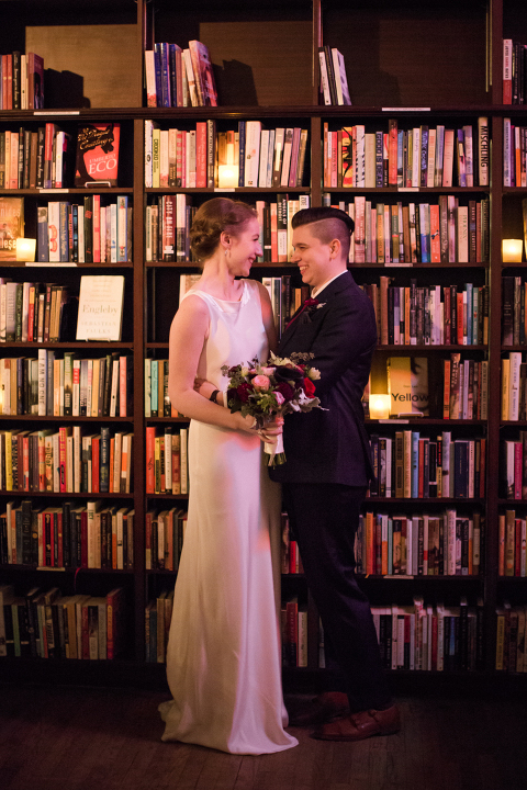 LGBT same-sex wedding at Housing Works Bookstore in Manhattan, New York.  Photo by Kelly Kollar Photography.