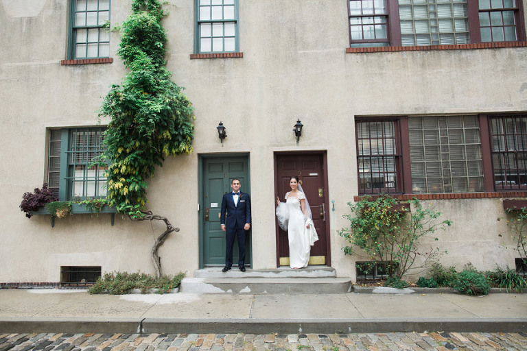 Rainy wedding at Church of St Francis Xavier in Manhattan, portraits in Washington Square Park and reception at Liberty House in Jersey City. Photos by Kelly Kollar Photography.